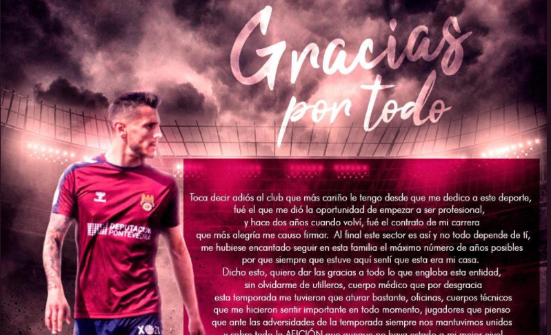 Adrián Cruz se despide del Pontevedra CF